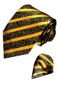 Neck Tie Set 100% Silk Paisley Gold Black LORENZO CANA