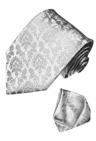 Neck Tie Set 100% Silk Floral Silver Grey LORENZO CANA