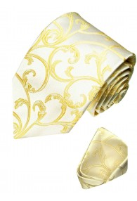 Neck Tie Set 100% Silk Floral Gold Cream LORENZO CANA