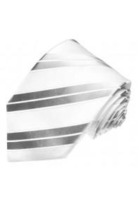 XL Necktie 100% Silk Striped Silver White LORENZO CANA