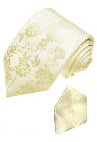 Neck Tie Set 100% Silk Floral Beige Ivory LORENZO CANA