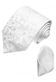 Neck Tie Set 100% Silk Floral White Silver LORENZO CANA