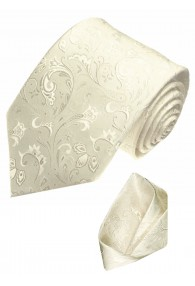 Neck Tie Set 100% Silk Floral Beige Cream LORENZO CANA