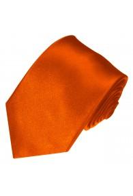 XL Herrenkrawatte 100% Seide Unifarben orangerot rot LORENZO CANA