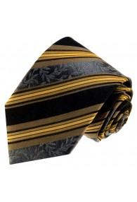Neck Tie 100% Silk Striped Black Brown LORENZO CANA