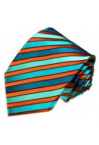 Neck Tie 100% Silk Striped Cyan Orange LORENZO CANA