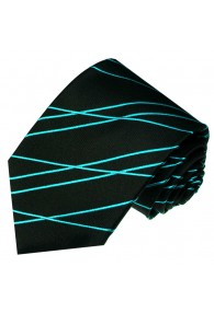 Neck Tie 100% Silk Striped Black Cyan LORENZO CANA