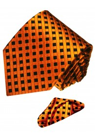 Necktie Set 100% Silk Checkered Orange LORENZO CANA