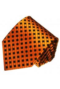 Neck Tie 100% Silk Checkered Orange LORENZO CANA
