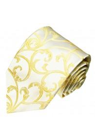 XL Necktie 100% Silk Floral Beige Gold LORENZO CANA