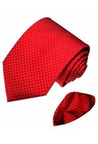 Necktie Set 100% Silk Polka Dot Red White LORENZO CANA