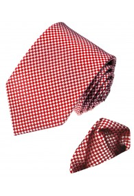 Necktie Set 100% Silk Checkered Red White LORENZO CANA