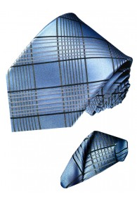 Necktie Set 100% Silk Checkered Silver Blue LORENZO CANA