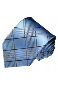 Neck Tie 100% Silk Checkered Silver Blue LORENZO CANA