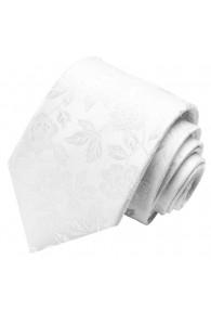 Neck Tie 100% Silk Floral White Grey LORENZO CANA
