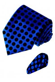 Necktie Set 100% Silk Polka Dot Blue Black LORENZO CANA
