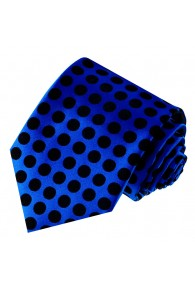 Neck Tie 100% Silk Polka Dot Blue Black LORENZO CANA