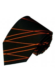 Neck Tie 100% Silk Striped Black Orange LORENZO CANA