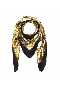 Scarf for men gold white black silk floral LORENZO CANA