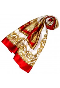 Scarf for Women gold white red silk floral LORENZO CANA