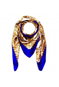Scarf for men gold white blue silk floral LORENZO CANA