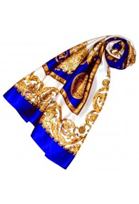 Scarf for Women gold white blue silk floral LORENZO CANA