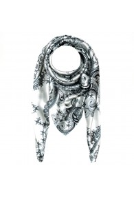 Scarf for men silver white black silk floral LORENZO CANA