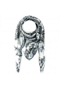 Scarf for men silver white black silk floral LORENZO CANA
