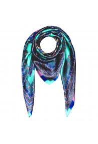 Scarf for Men turquoise rose blue silk floral LORENZO CANA
