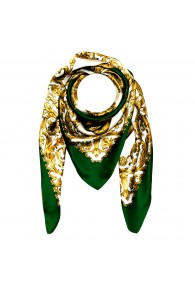 Scarf for men gold white green silk floral LORENZO CANA