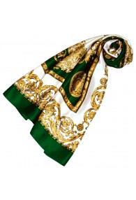 Scarf for Women gold white green silk floral LORENZO CANA