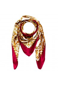 Scarf for men gold white berry silk floral LORENZO CANA