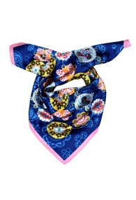 Scarf Men 100% Silk blue pink yellow Floral LORENZO CANA
