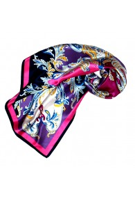 Scarf for Women purple pink white silk floral LORENZO CANA