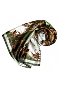 Scarf for Women green light brown white silk floral LORENZO CANA