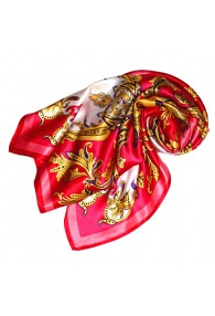 Scarf for Women red pink yellow white silk floral LORENZO CANA