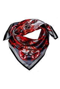 Scarf for men grey red white silk floral LORENZO CANA