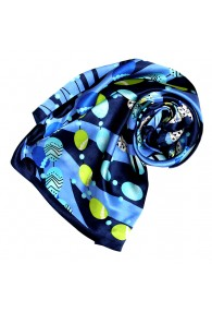 Scarf for Women blue dark blue green silk floral LORENZO CANA