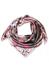 Scarf for men pink grey apricot silk floral LORENZO CANA