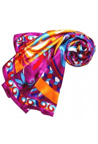 Scarf for Women purple purple pink turquoise silk floral LORENZO CANA