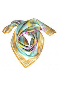 Womens shawl 100% Silk aqua mustard pink Floral LORENZO CANA