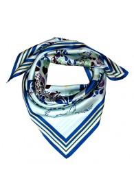 Scarf men 100% silk aqua blue green floral LORENZO CANA