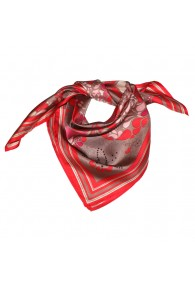Scarf Women 100% Silk red brown pink Floral LORENZO CANA