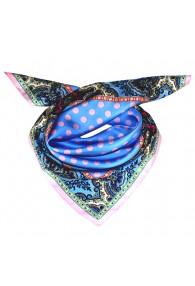 Scarf Women 100% Silk light blue pink violet dots LORENZO CANA