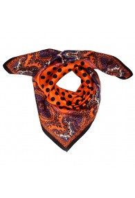 Scarf Women 100% Silk orange black violet dots LORENZO CANA