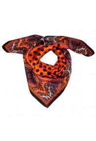 Scarf Men 100% Silk orange black violet dots LORENZO CANA