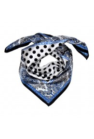 Scarf Men 100% Silk silver black blue grey dots LORENZO CANA