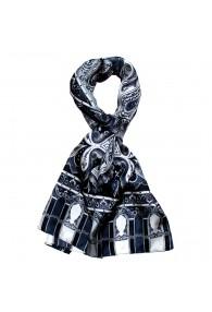 Men's Shawl Silk Gray Dark Blue Paisley LORENZO CANA