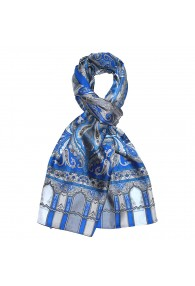 Men's Shawl Silk Blue Gray Paisley LORENZO CANA
