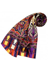 Women's Shawl Silk Purple Yellow Blue Red LORENZO CANA